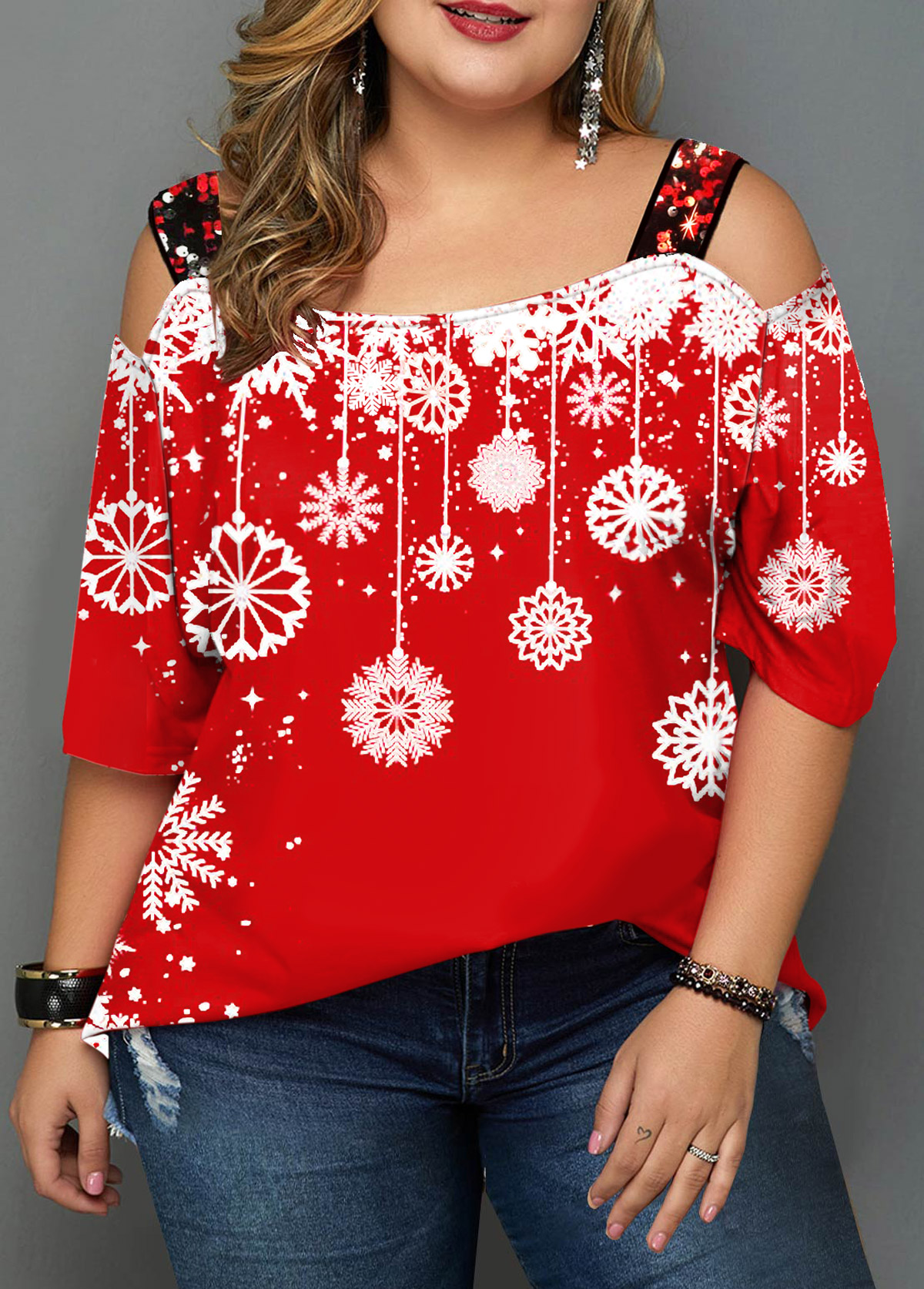 Plus Size Sequin Detail Snowflake Print T Shirt