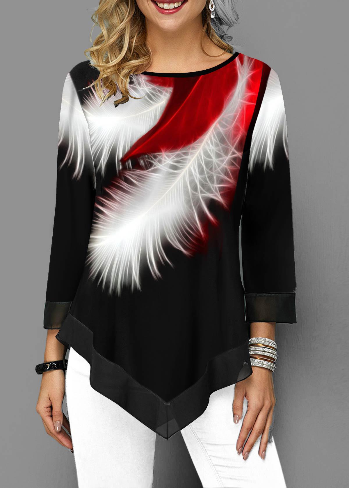 Feather Print Asymmetric Hem Round Neck T Shirt