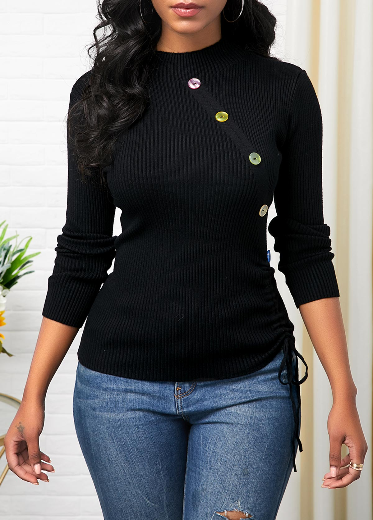Button Detail Long Sleeve Drawstring Side Sweater
