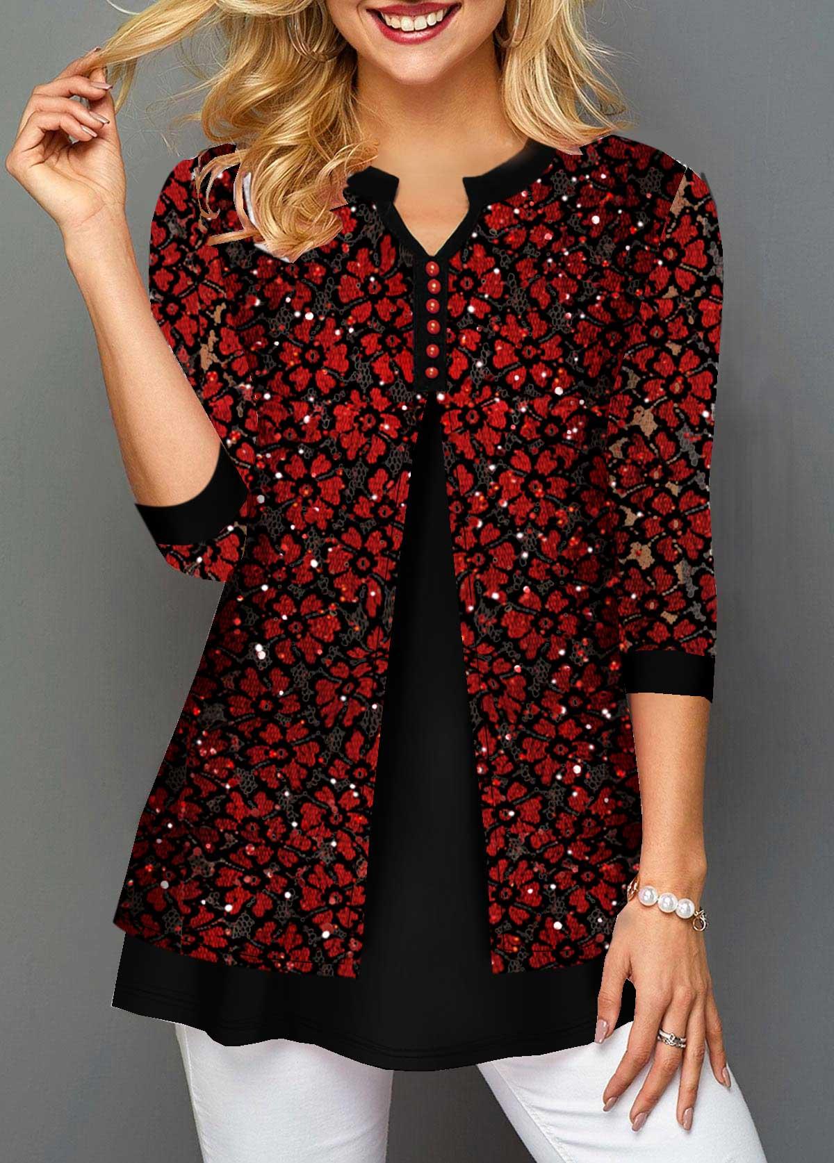 Lace Panel Split Neck Faux Two Piece T Shirt