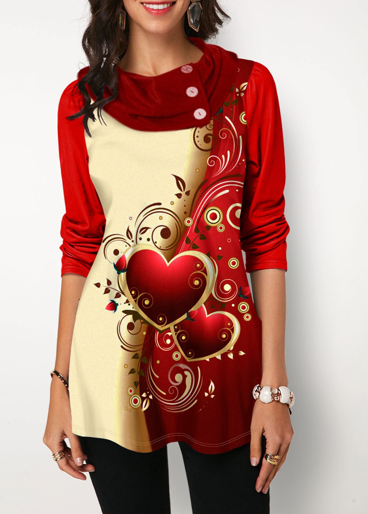 Heart Print Contrast Panel Button Detail T Shirt
