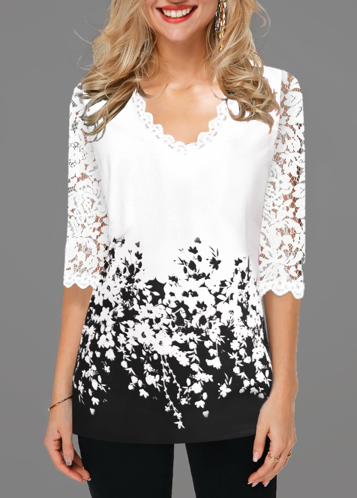 Lace Detail Floral Print Contrast Panel T Shirt