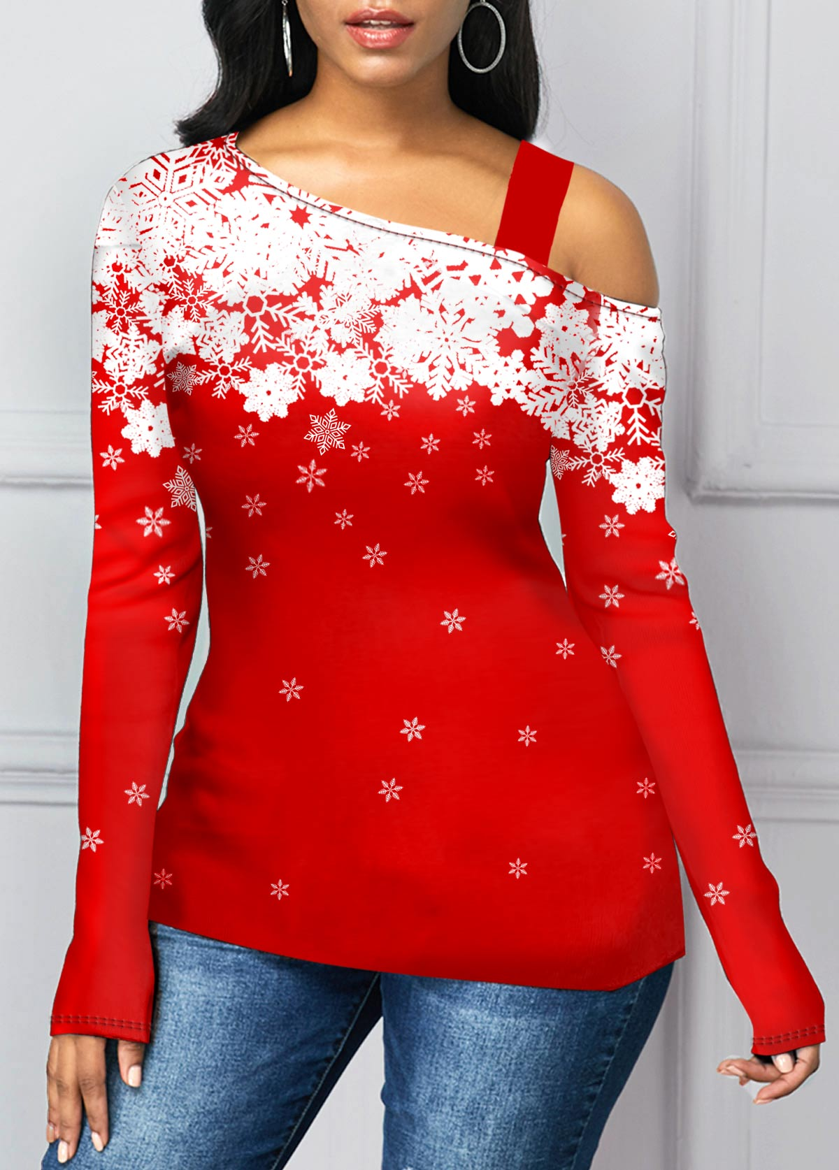 Strappy Cold Shoulder Snowflake Print T Shirt