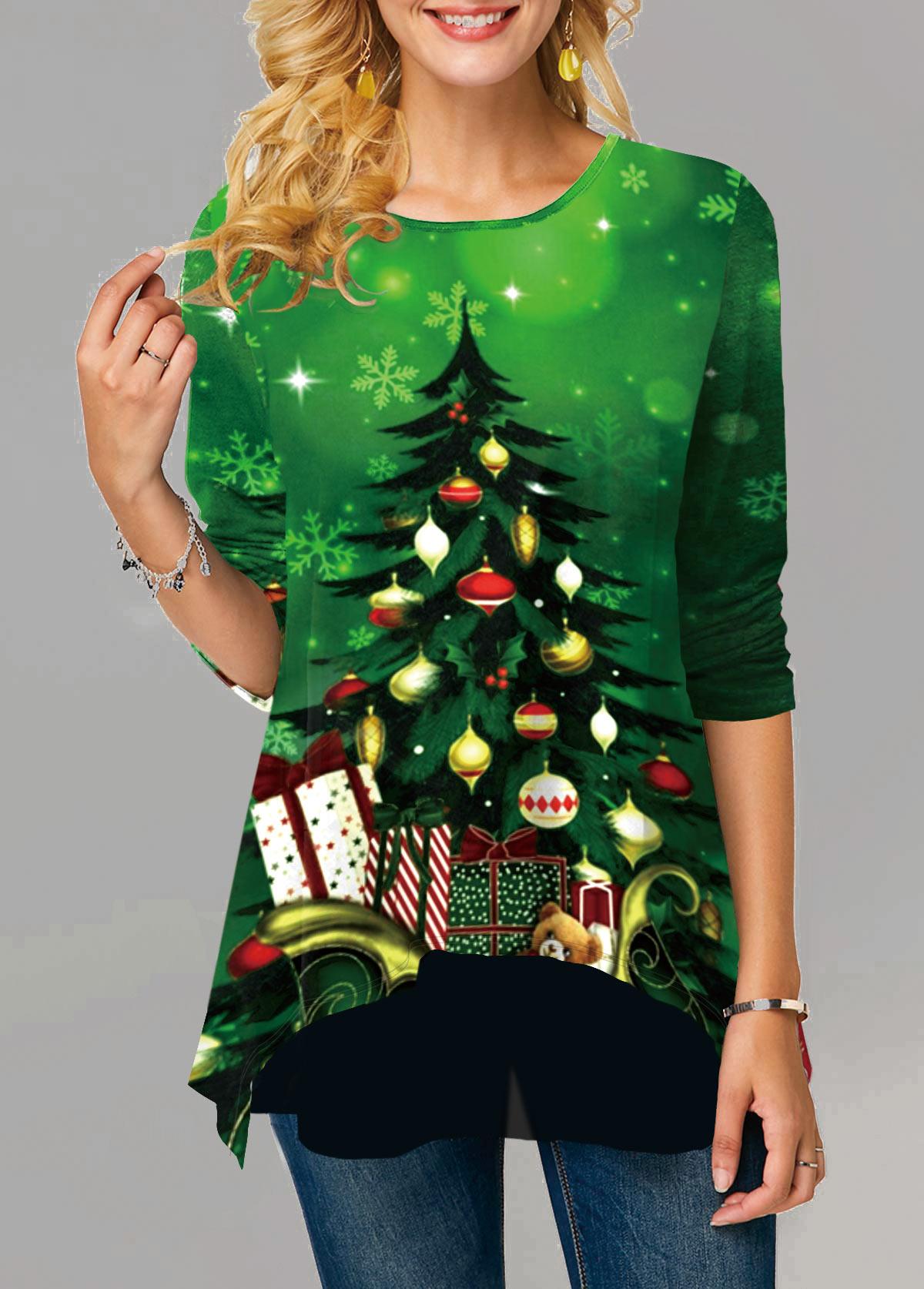 Christmas Print Round Neck Long Sleeve T Shirt