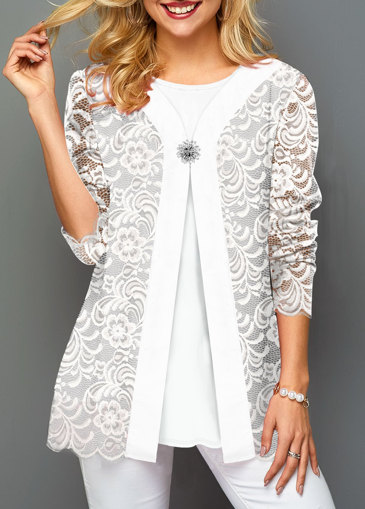 Faux Two Piece Decorated Button White Lace T Shirt