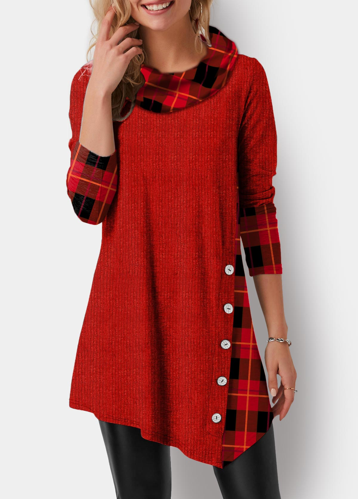Asymmetric Hem Plaid Print Button Detail Tunic Top