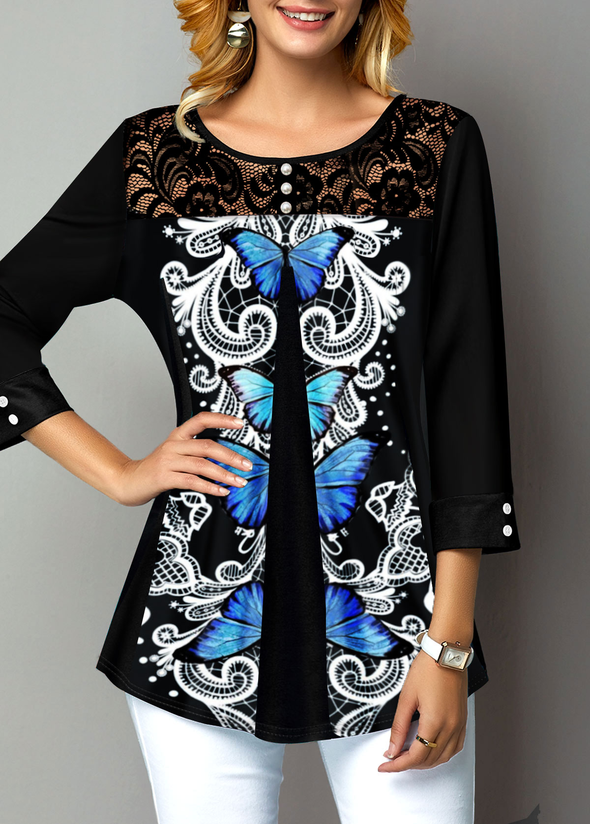 Lace Panel Button Detail Symmetric Butterfly T Shirt