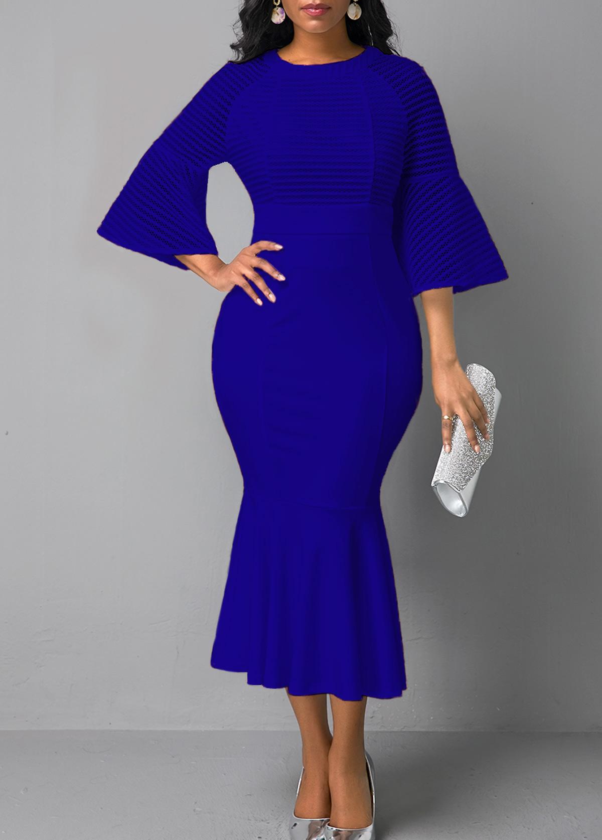 Flare Sleeve Mesh Panel Blue Mermaid Dress