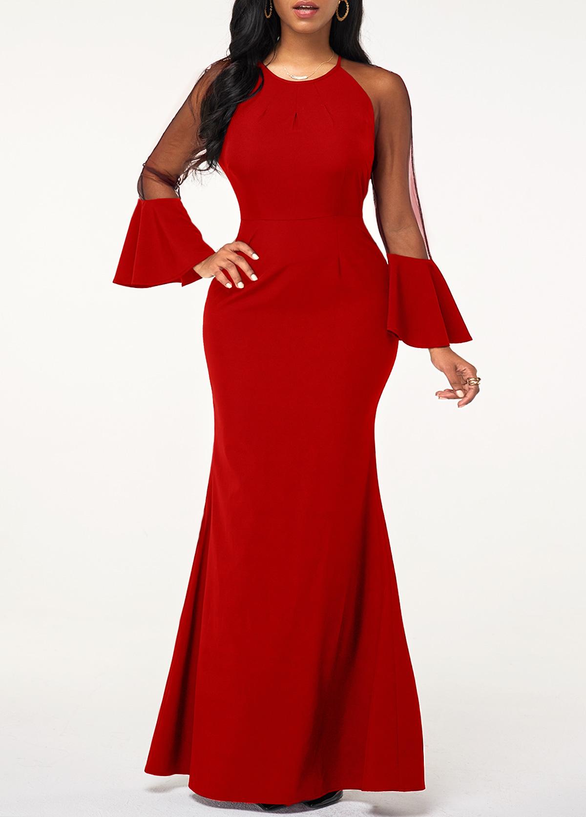 Mesh Panel Flare Cuff Red Maxi Dress