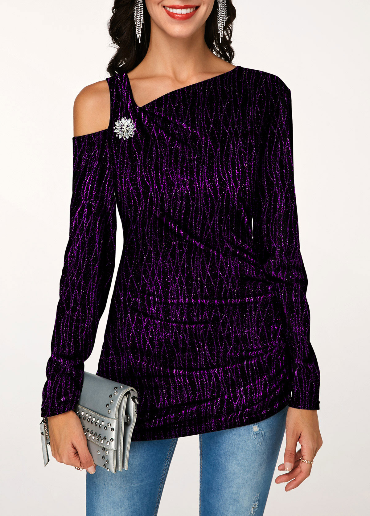 Ruched Rhinestone Button Long Sleeve T Shirt