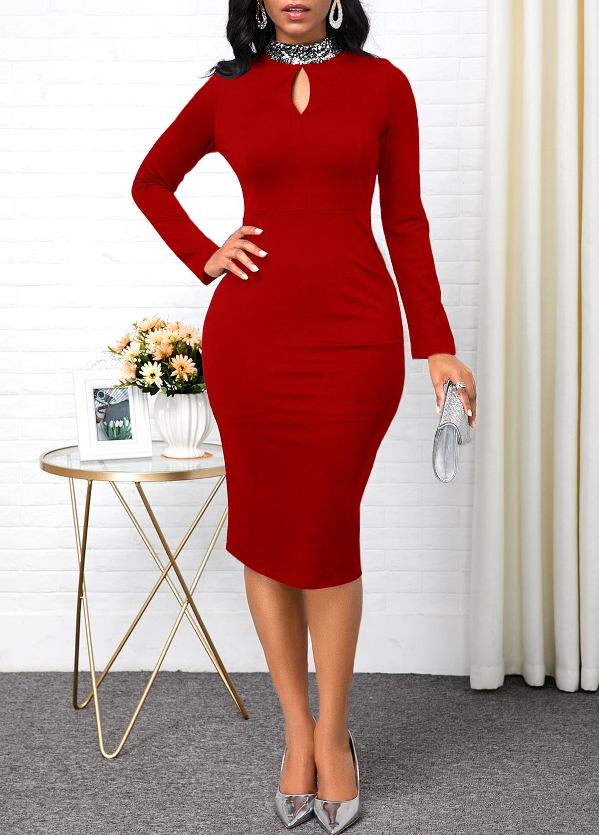 Keyhole Neckline Long Sleeve Red Sheath Dress