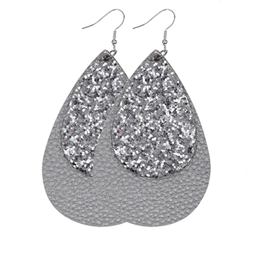 Layered Sequin Detail Light Grey Earring Set