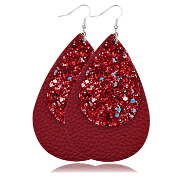 Wine Red Layered Sequin Detail Earring Set