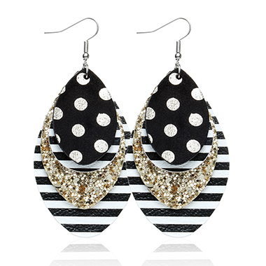 Sequin Detail Striped Layered Black Earring Set