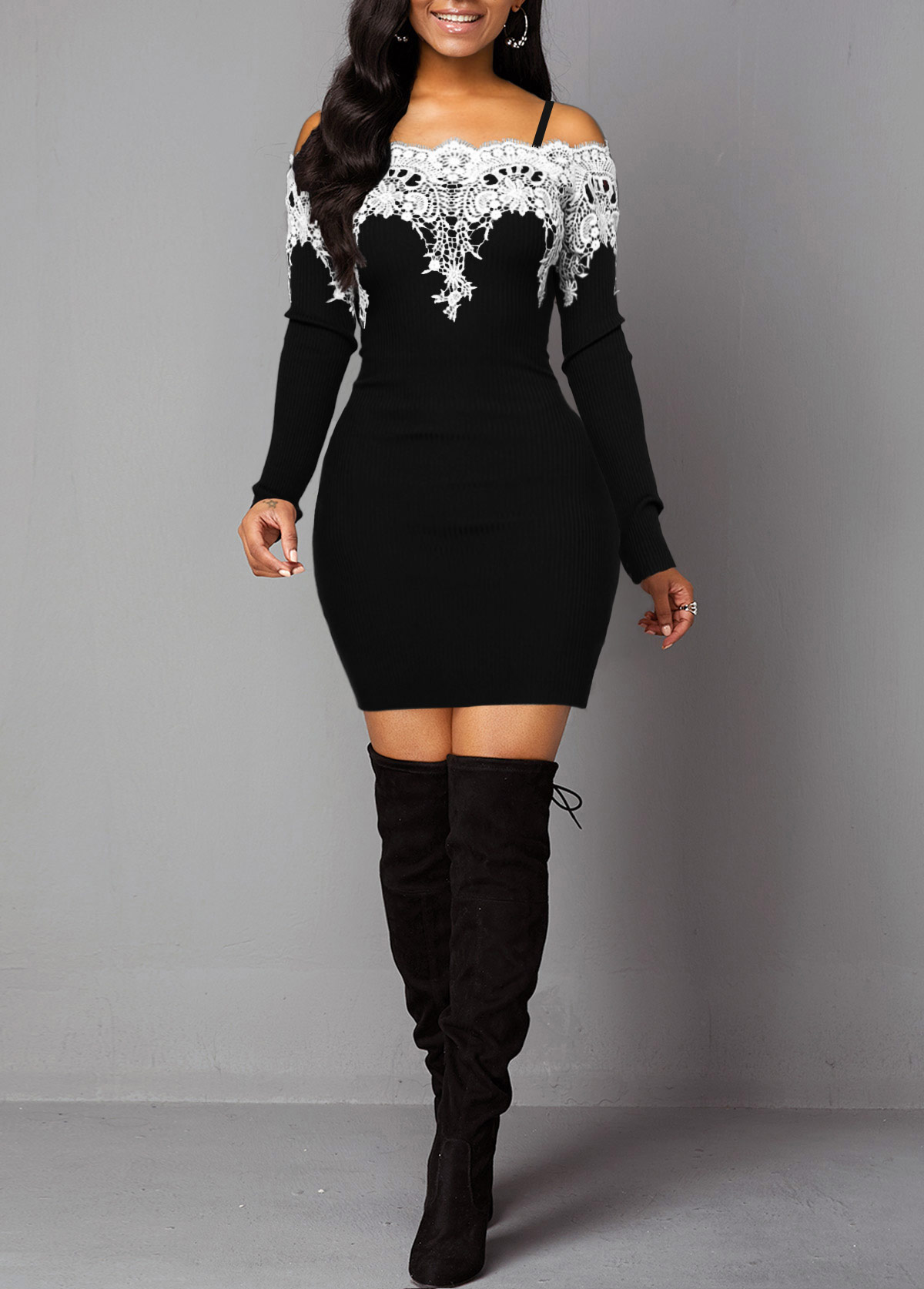 Contrast Panel Long Sleeve Off the Shoulder Dress