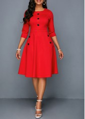 Button Embellished Pocket Red A Line Dress