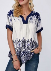 Tribal Print Split Neck Pleated Blouse