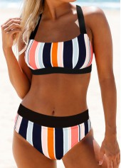 Tie-Back-Multicolor-Striped-Bikini-Set