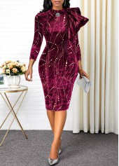 Hot-Stamping-Three-Quarter-Sleeve-Velvet-Dress