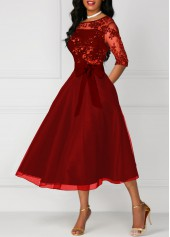 Lace-Panel-Side-Pocket-Belted-Dress