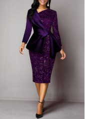 Lace-Panel-Back-Slit-Deep-Purple-Sheath-Dress