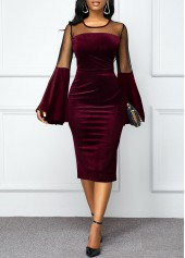 Flare-Sleeve-Mesh-Panel-Round-Neck-Velvet-Dress
