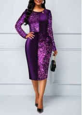 Sequin-Panel-Long-Sleeve-Split-Neck-Sheath-Dress