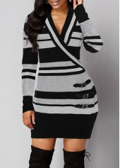 Stripe-Pattern-Buckle-Detail-Plunging-Neck-Sweater-Dress