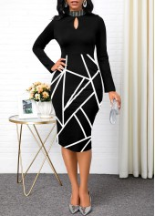 Keyhole-Neckline-Long-Sleeve-Geometric-Print-Dress