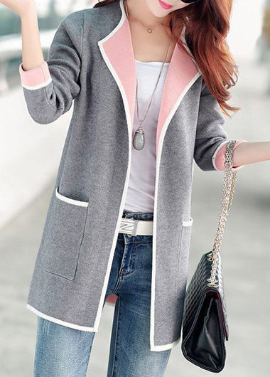 Modlily Women's Long Sleeve Grey Long Open Front Cardigan With Pockets - L