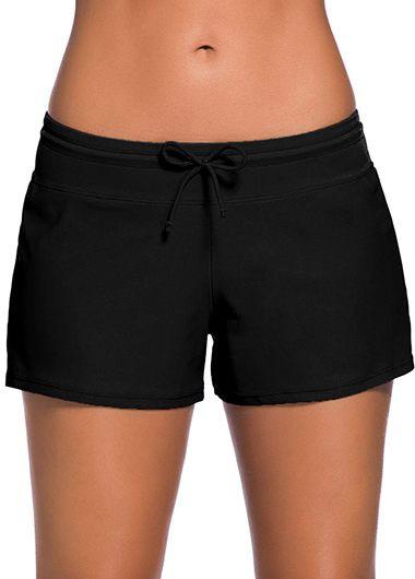 Drawstring Waist Solid Black Swimwear Shorts - L