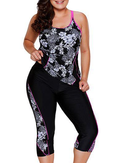 Modlily Women's Plus Size Flower Print Black Top And Swimwear Cropped Pants - 0X