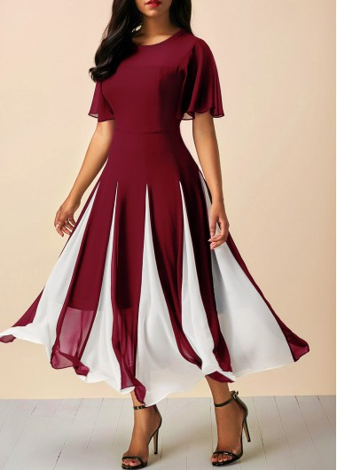 Christmas Holiday Dress Round Neck Short Sleeve Wine Red Dress - L