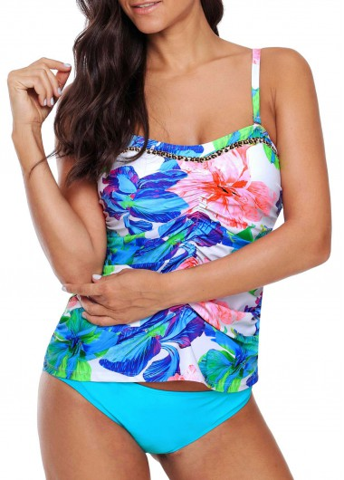 Sweetheart Neckline Ruched Printed Tankini Set - XL