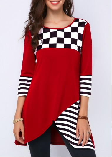 Women's Red Plaid And Striped Tops For Women Asymmetric Hem Round Neck Printed Blouse - XXL