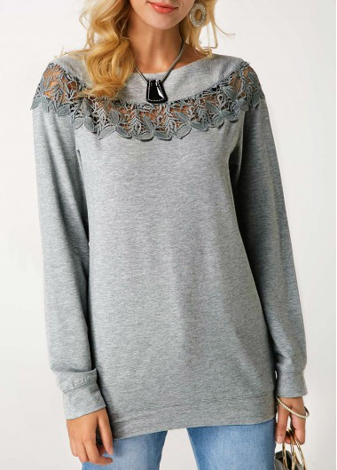Crochet Panel Grey Marl Pullover Sweatshirt - XXL