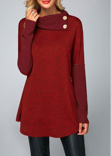 Wine Red Ribbed Button Front Long Sleeve Casual Tunic Top for Women - L