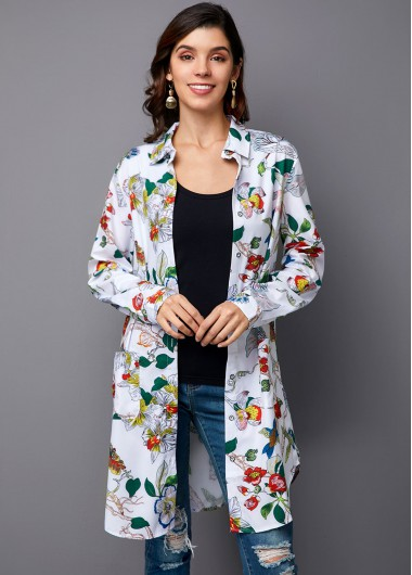 Printed Button Up Turndown Collar Blouse - 14