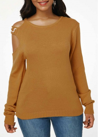 Faux Pearl Embellished Cutout Shoulder Knitting Sweater - XL
