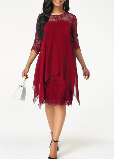 Wine Red Lace Panel Chiffon Overlay Shift Dress Round Neck Chiffon Overlay Lace Dress - L