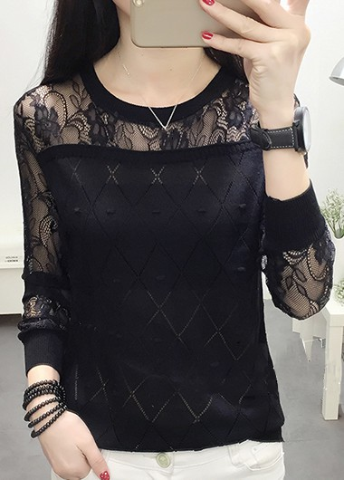 Black Long Sleeve Lace Panel Pullover Sweater - L
