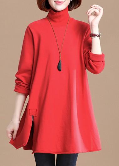 High Neck Side Slit Red T Shirt - L