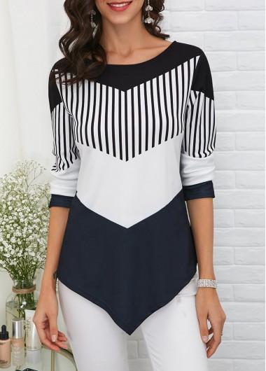 Womens Chevron Black And White Tunic Spring T Shirt Asymmetric Hem Color Block T Shirt - L