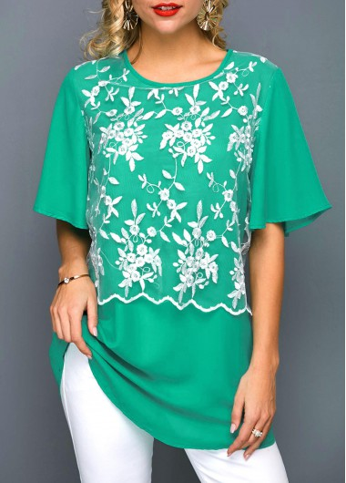 Round Neck Butterfly Sleeve Embroidered Blouse - M