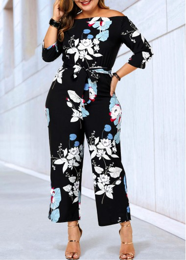 Three Quarter Sleeve Plus Size Belted Jumpsuit - 0X