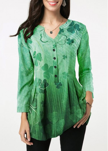 Green 3/4 Sleeve Split Neck Button Front Printed Blouse St Patricks Day Shirts - L