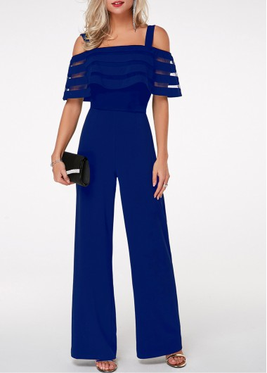 Blue Jumpsuit Cold Shoulder Jumpsuit Strappy Jumpsuit Overlay Embellished Jumpsuit for Women - L