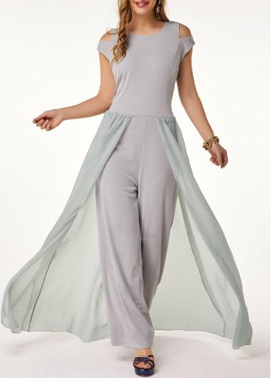 Light Grey Jumpsuit Round Neck Jumpsuit High Waist Jumpsuit Sleeveless Chiffon Jumpsuit for Women - L