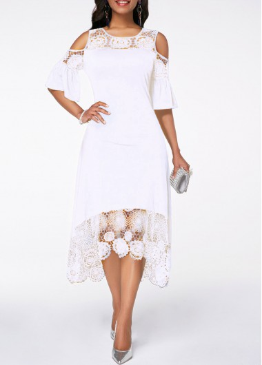 Cold Shoulder White Flare Cuff Lace Panel Dress - M