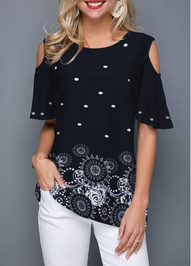 Cold Shoulder Half Sleeve Printed Blouse - XL